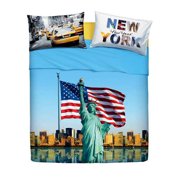 Lenzuola Bandiera Americana American Dream Matrimoniale Bassetti
