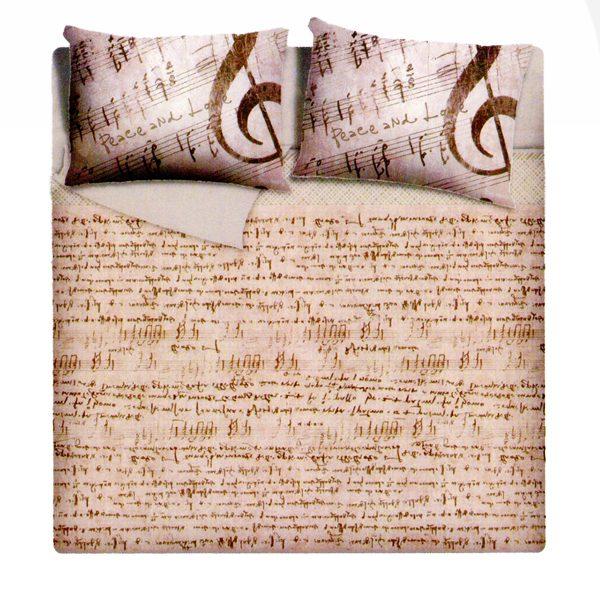 Copripiumino Note Musicali.Mae Completo Copripiumino Matrimoniale Music Spartito Musicale