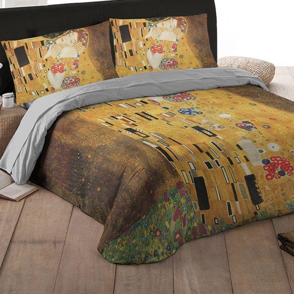 Tele D Autore Copripiumino.Copripiumino Klimt Il Bacio Matrimoniale Tessitura Randi