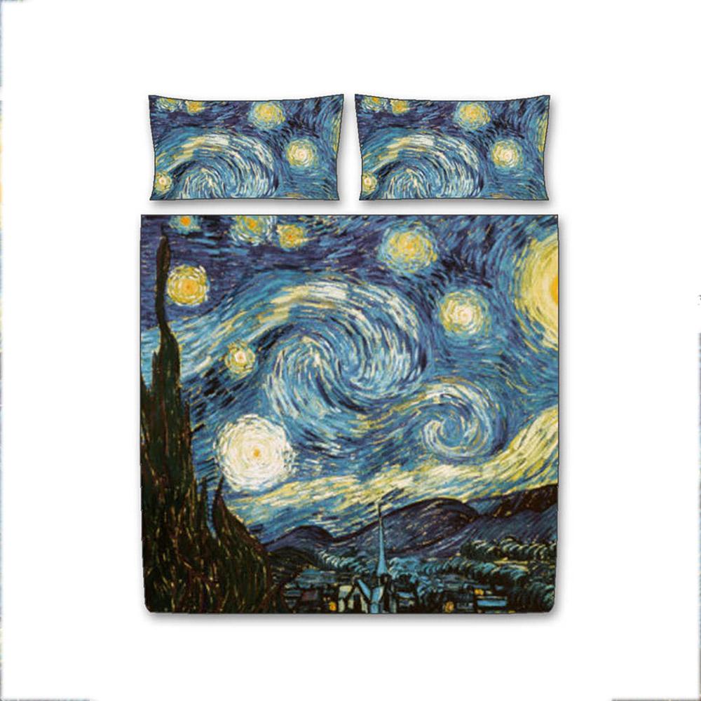 Copripiumino Bassetti Notte Stellata.Copripiumino Van Gogh Notte Stellata Matrimoniale Tessitura Randi