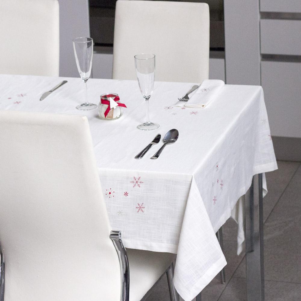 Tovaglia Da Tavola Moderna servizio da tavola natalizio con ricamo fiocco di neve