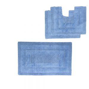 tris tappeto bagno azzurro
