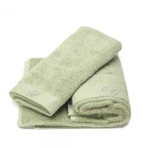 asciugamano blumarine home verde con strass
