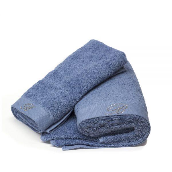 asciugamano blumarine home con ospite color pervinca linea benessere