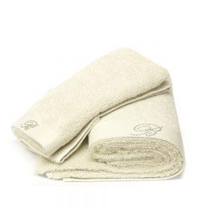 asciugamano con ospite blumarine home linea benessere beige sabbia