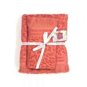asciugamano con ospite rosso