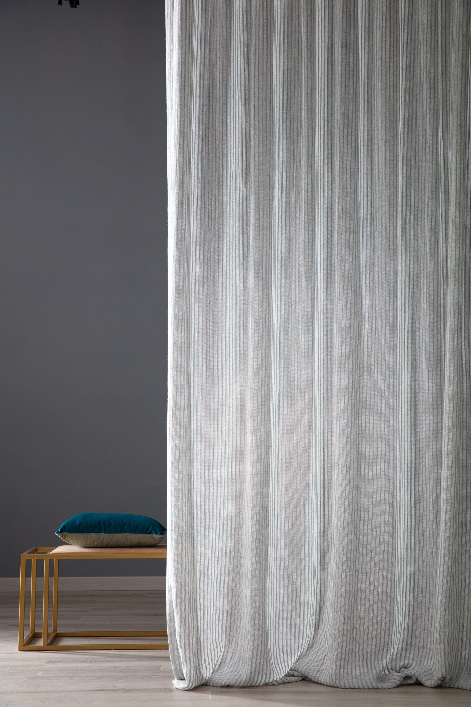Tessuto Per Tende Da Cucina tenda grigia jacquard misto lana e lino charly