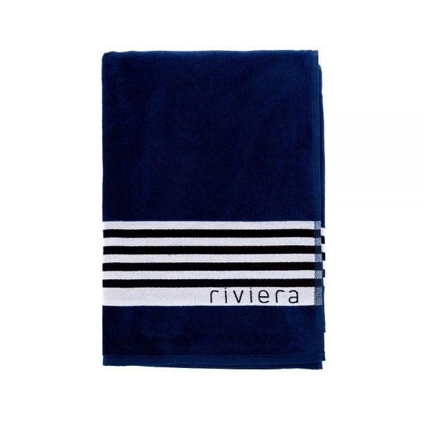 telo mare blu caraibi blu tinta unita piegato
