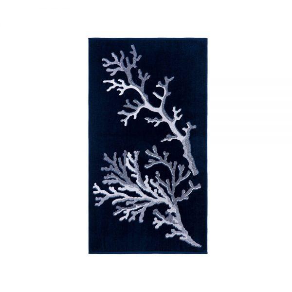 telo mare coralli blu jacquard linea azzorre di riviera