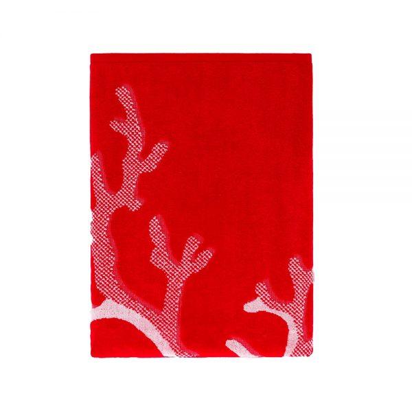 telo mare azzorre rosso jacquard piegato riviera home