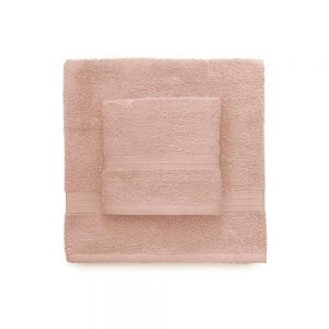 asciugamano con ospite bassetti time rosa cipria