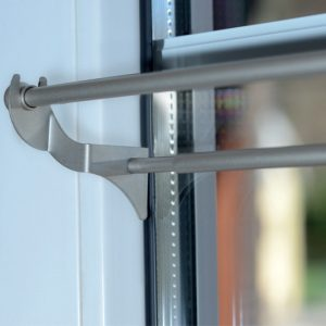 sistema per doppie tendine a vetro no foro dettaglio