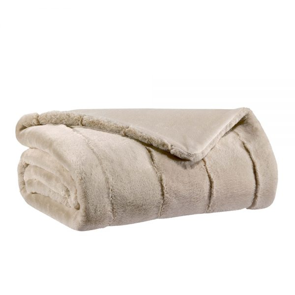 coperta ecopelliccia beige lino kinta vivaraise