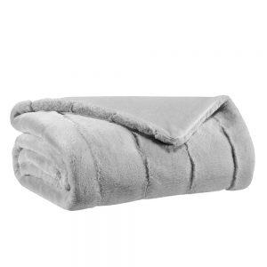 coperta ecopelliccia grigio perla kinta