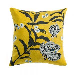 cuscino arredo ricamato giallo con fiori giapponesi