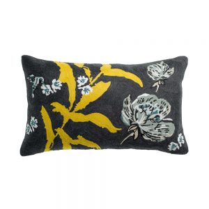 cuscino arredo rettangolare giallo e nero a fiori