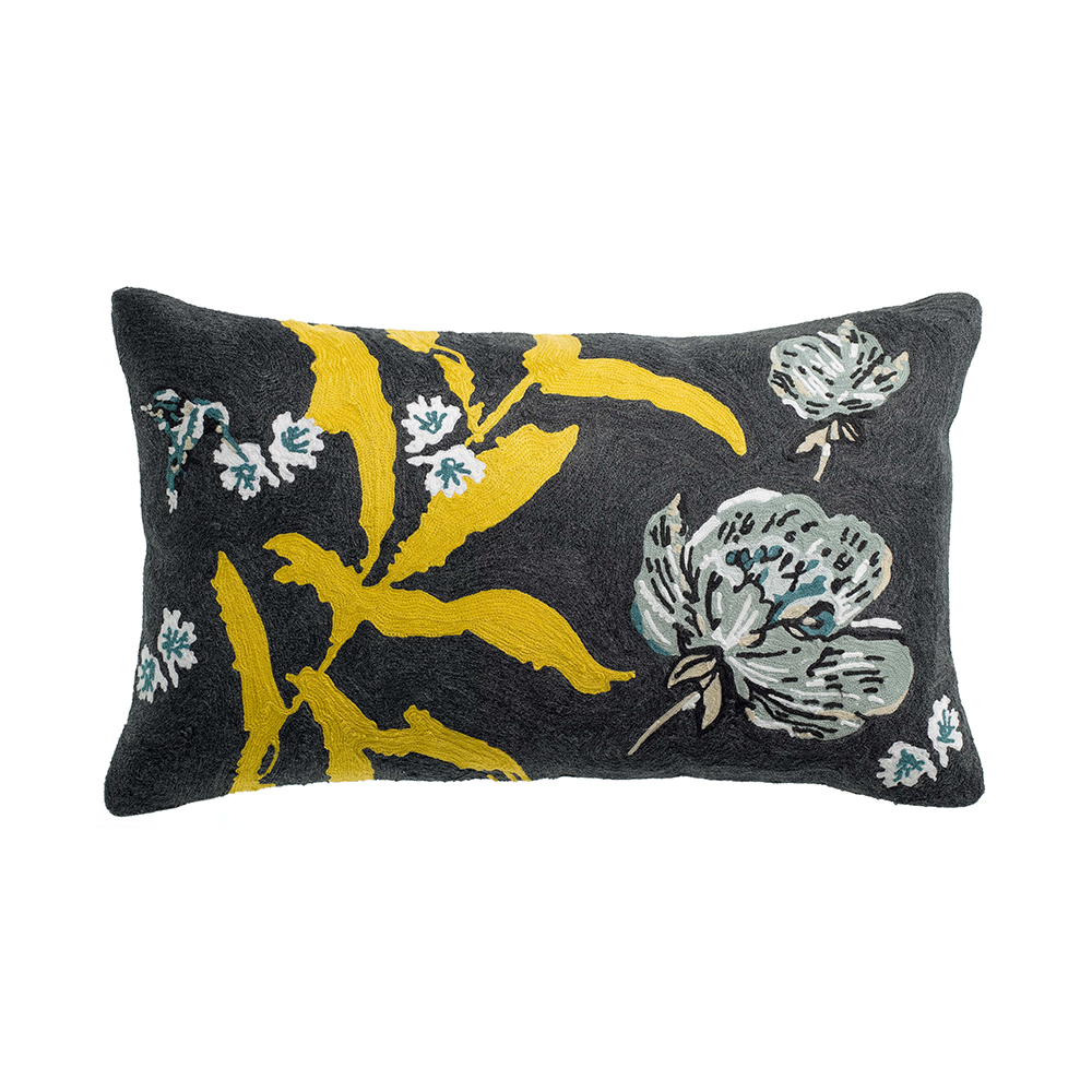 Cuscini Arredo Rettangolari.Cuscino Arredo Rettangolare Ricamato Yellow Flowers 30x50cm