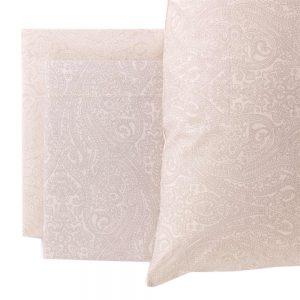 completo letto matrimoniale oriental di riviera con disegno cachemire beige
