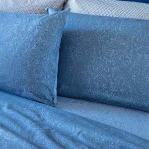 completo letto matrimoniale oriental di riviera con disegno cachemire blu