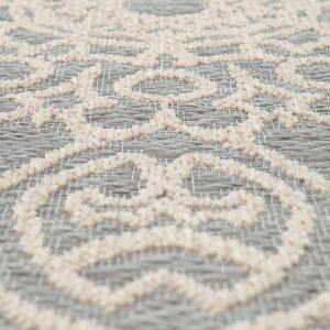 tappeto da esterno rotondo beige adi di vivaraise grigio dettaglio