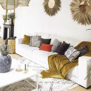 tappeto leoti di vivaraise in stile berbero bianco e nero ambientato