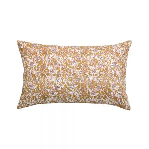 cuscino rettangolare a fiori rosaline ocra