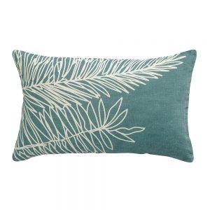 cuscino arredo stampa palma zeff palm di vivaraise colore prussia