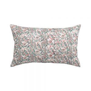 cuscino rettangolare a fiori rosaline verde e grigio
