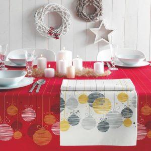 tovaglia natalizia vallesusa decorative con palle di natale stilizzate