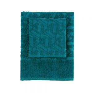 asciugamano hexagon di bassetti blu petrolio