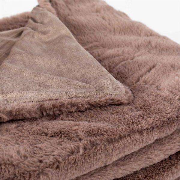 coperta pelosa furry tortora di riviera dettaglio