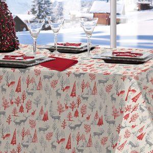tovaglia natalizia con pini natalizi tessitura randi