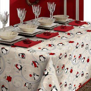 tovaglia natalizia con pinguini tessitura randi