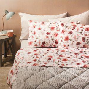 completo letto flowery zucchi con fiori rossi acquerello
