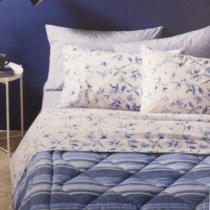 completo lenzuola fiori blu zucchi linea lea