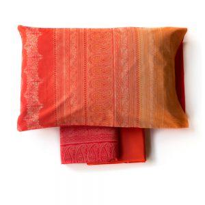 copripiumino brunelleschi di bassetti granfoulard rosso e arancione con damaschi
