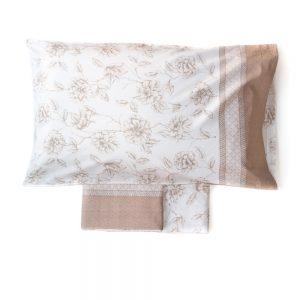 completo letto amelie con magnolie in beige di mae