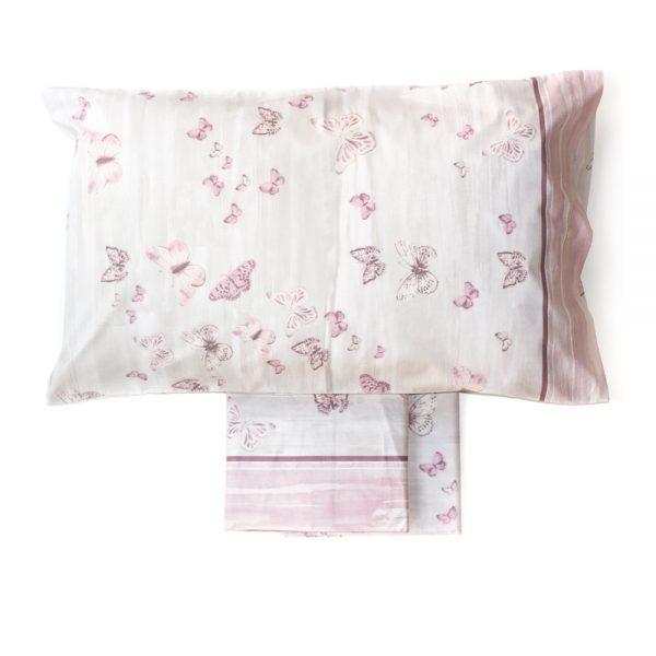 completo lenzuola con farfalle rosa butterfly di Maè