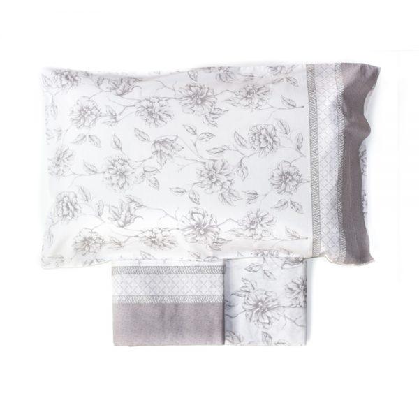 completo lenzuola in percalle con magnolie di Maè