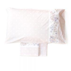 completo lenzuola rosa cipria con fiori linea Pompadur di Maè