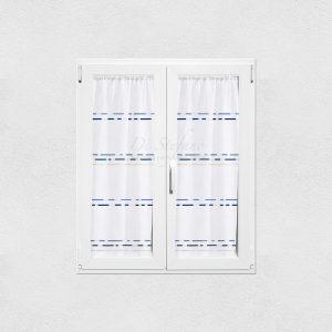 tendine a vetro con righe orizzontali azzurre e blu della collezione bruce di Via Roma 60