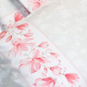 dettaglio completo lenzuola matrimoniale percalle magnolia mae