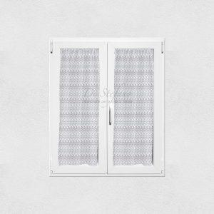 coppia tendine a vetro con zig zag chevron grigio di Via Roma 60