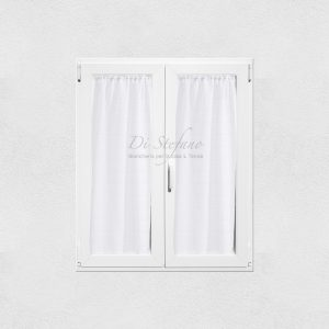 coppia tendine a vetro con ajour bianco ottico