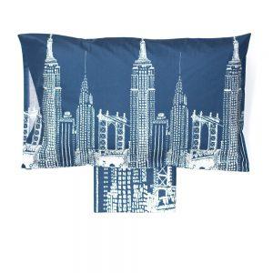 copripiumino singolo skyline con grattacieli blu vallesusa