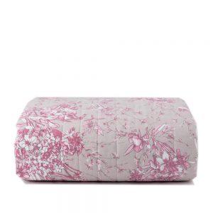 copriletto a fiori rosa su fondo grigio collezione Aster di Riviera