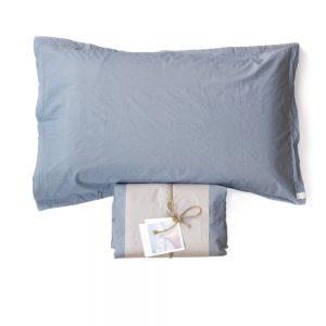 lenzuola cotone biologico memoria di somma color aria azzurro polvere