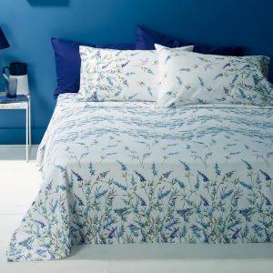 copriletto Lavander di Zucchi con fiori azzurri