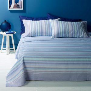 copriletto Lindos di Zucchi a righe azzurre per letto singolo