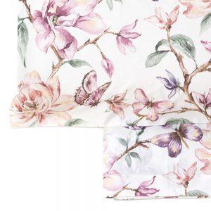 dettaglio completo lenzuola matrimoniale holland di mae con farfalle e fiori